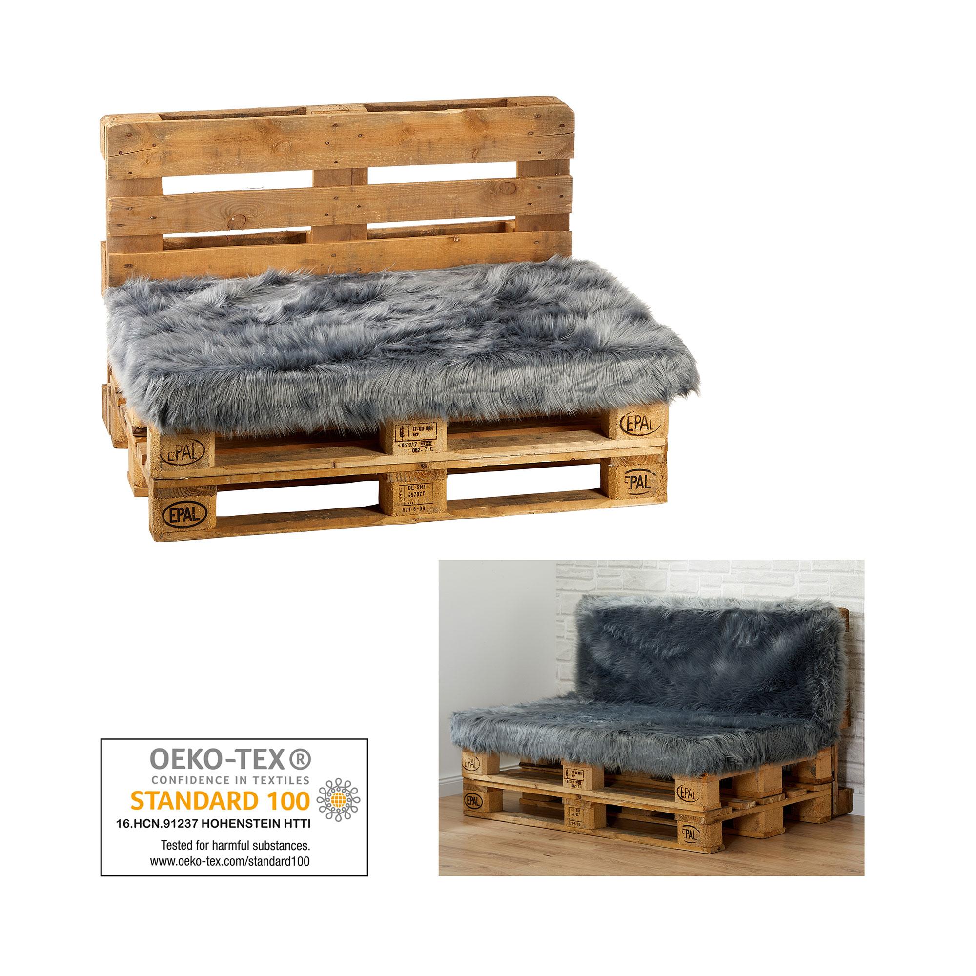 Palettenkissen Sitzauflage Kissen Paletten Sofa Möbel Fell-Optik 80x120cm Grau