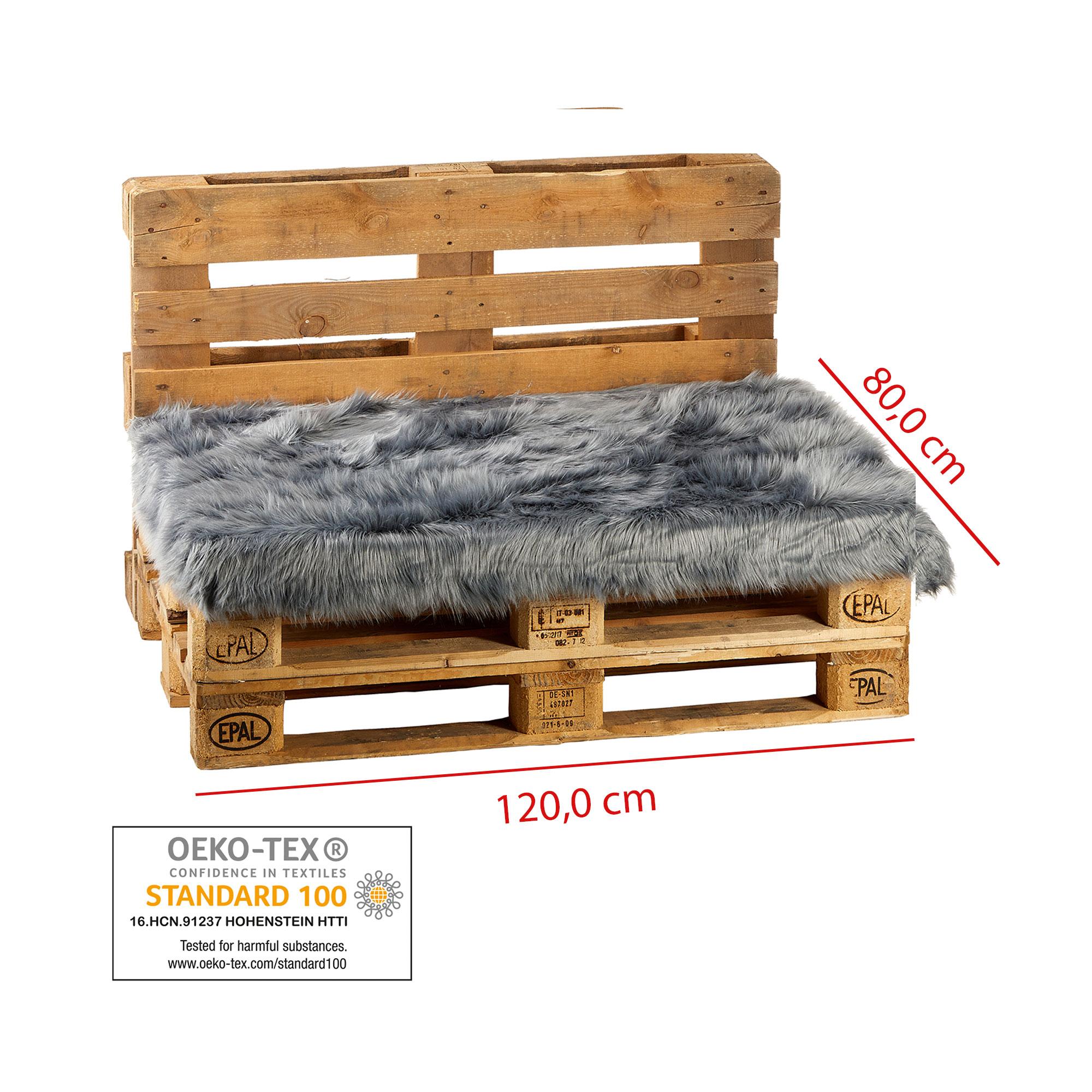 Indexbild 2 - Palettenkissen Sitzauflage Kissen Paletten Sofa Möbel Fell-Optik 80x120cm Grau
